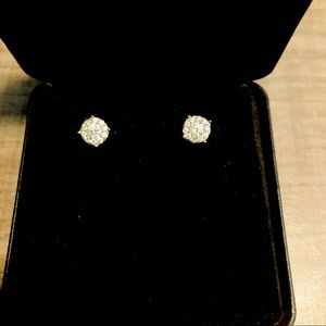 Real Natural 0.5 TW Diamond  Earring 14K Yellow Gold